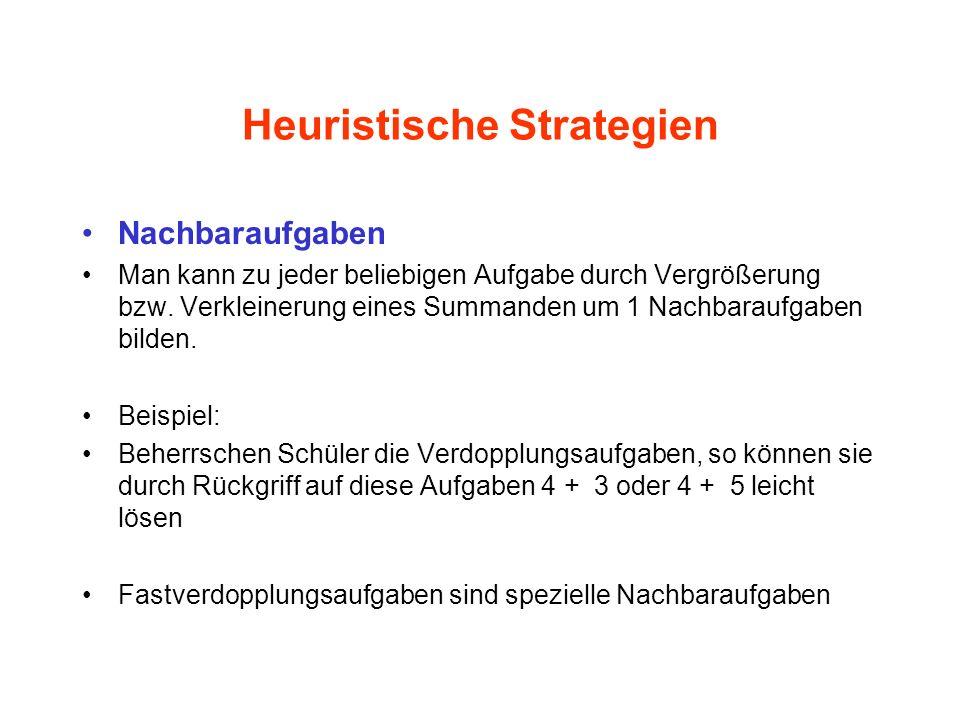 Heuristische Strategien Nachbaraufgaben Man kann zu jeder beliebigen Aufgabe durch Vergrößerung bzw. Verkleinerung eines Summanden um 1 Nachbaraufgabe