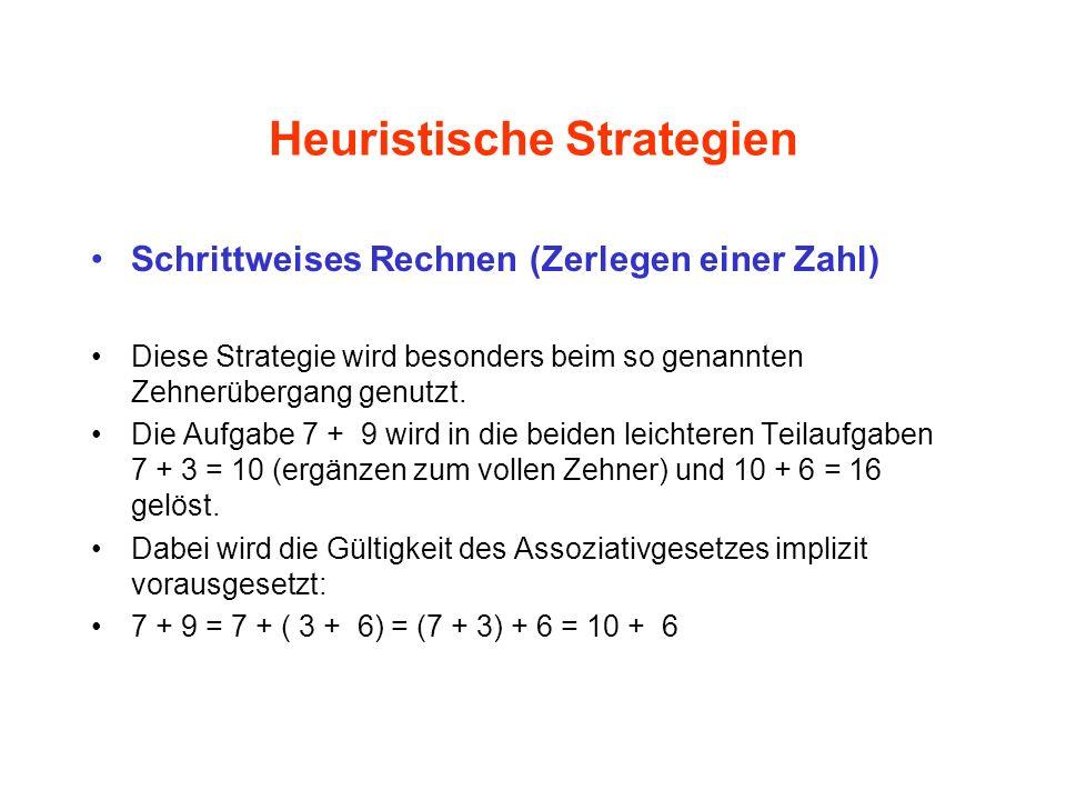 Heuristische Strategien Schrittweises Rechnen (Zerlegen einer Zahl) Diese Strategie wird besonders beim so genannten Zehnerübergang genutzt. Die Aufga