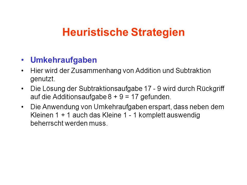 Heuristische Strategien Umkehraufgaben Hier wird der Zusammenhang von Addition und Subtraktion genutzt. Die Lösung der Subtraktionsaufgabe 17 - 9 wird