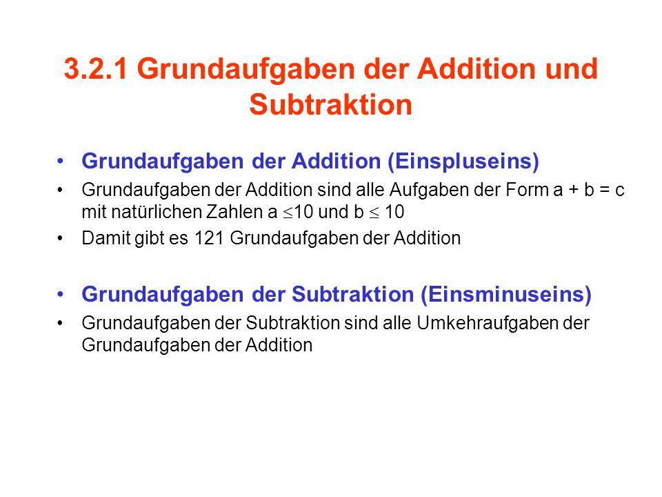 3.2.1 Grundaufgaben der Addition und Subtraktion Grundaufgaben der Addition (Einspluseins) Grundaufgaben der Addition sind alle Aufgaben der Form a +