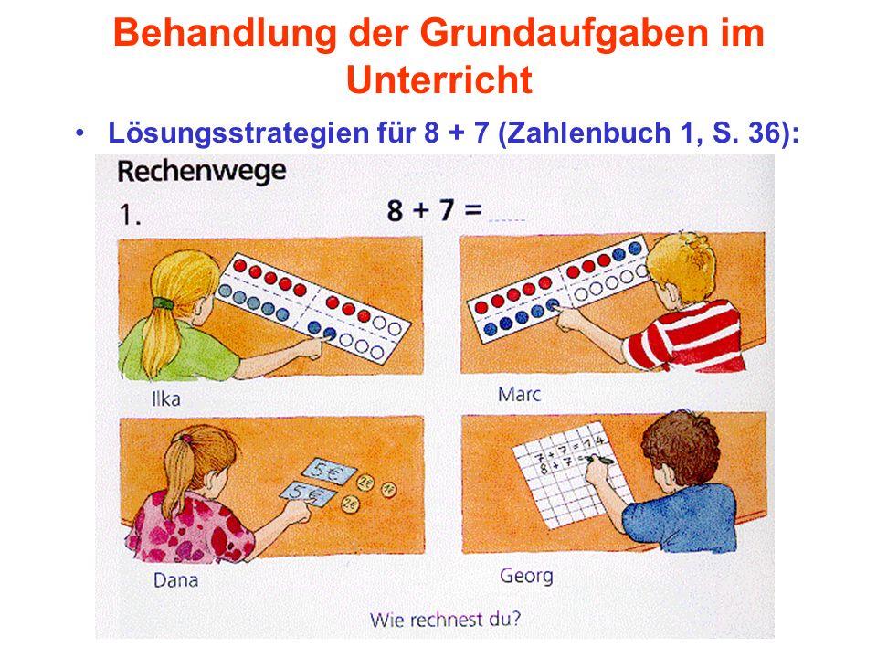 Behandlung der Grundaufgaben im Unterricht Lösungsstrategien für 8 + 7 (Zahlenbuch 1, S. 36):