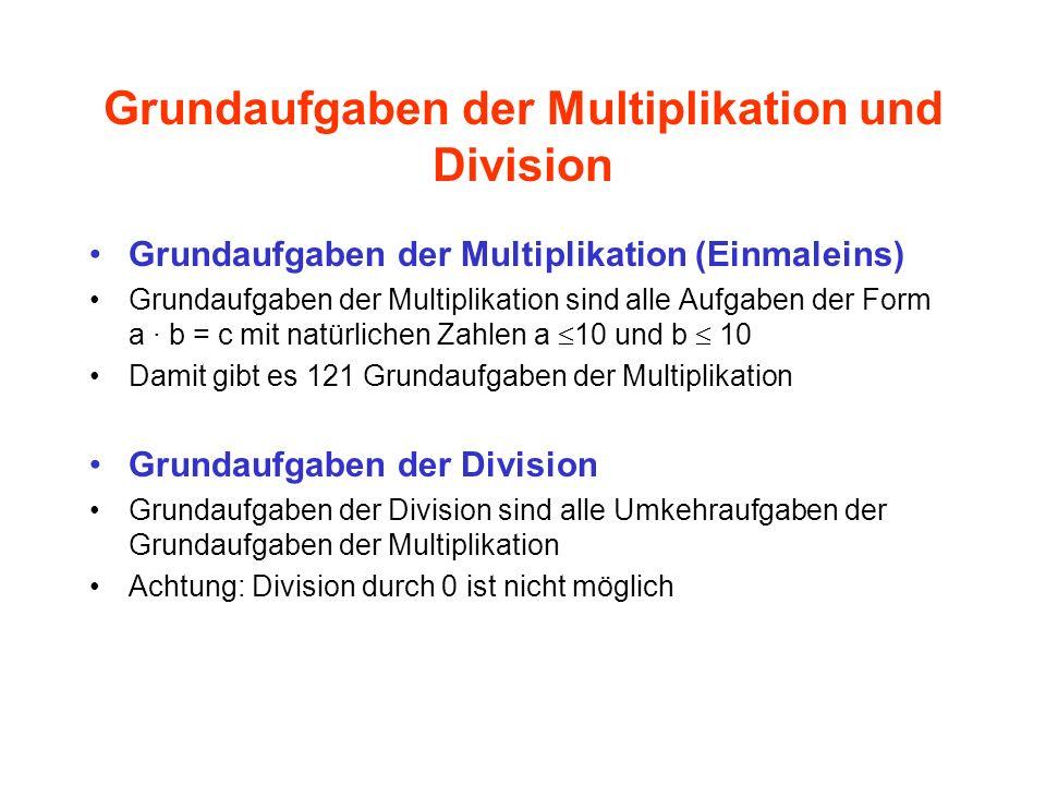 Grundaufgaben der Multiplikation und Division Grundaufgaben der Multiplikation (Einmaleins) Grundaufgaben der Multiplikation sind alle Aufgaben der Fo