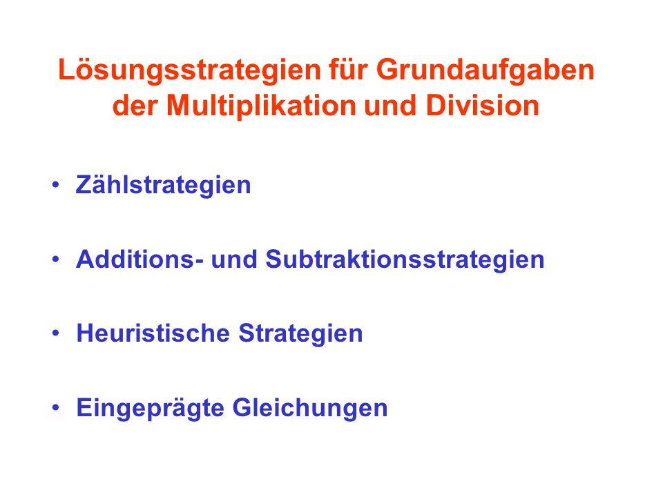Lösungsstrategien für Grundaufgaben der Multiplikation und Division Zählstrategien Additions- und Subtraktionsstrategien Heuristische Strategien Einge