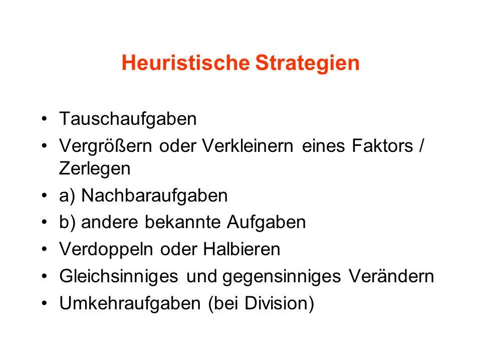 Heuristische Strategien Tauschaufgaben Vergrößern oder Verkleinern eines Faktors / Zerlegen a) Nachbaraufgaben b) andere bekannte Aufgaben Verdoppeln