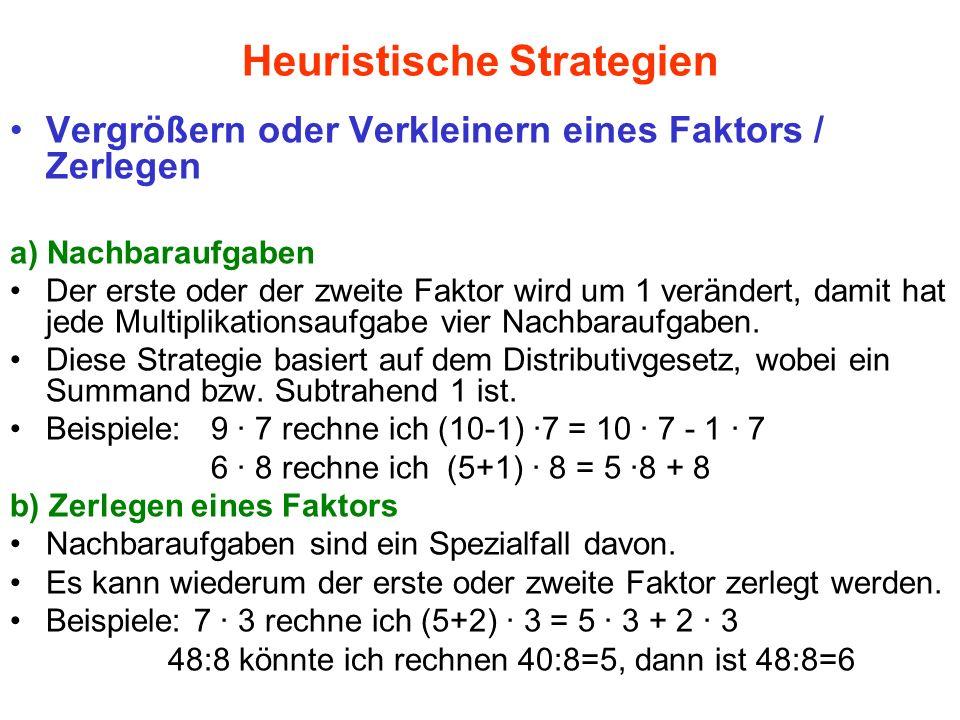 Heuristische Strategien Vergrößern oder Verkleinern eines Faktors / Zerlegen a) Nachbaraufgaben Der erste oder der zweite Faktor wird um 1 verändert,