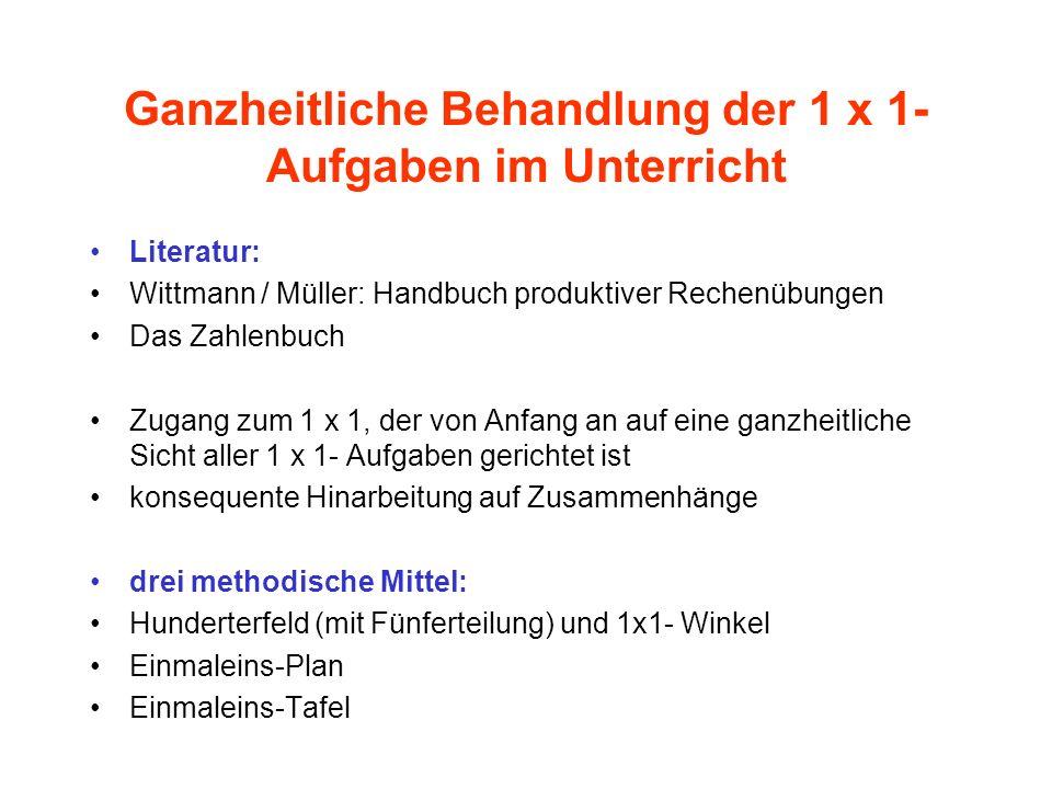Ganzheitliche Behandlung der 1 x 1- Aufgaben im Unterricht Literatur: Wittmann / Müller: Handbuch produktiver Rechenübungen Das Zahlenbuch Zugang zum
