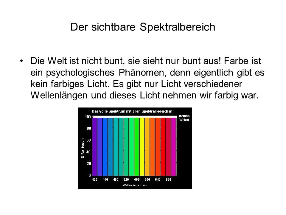 Der sichtbare Spektralbereich Die Welt ist nicht bunt, sie sieht nur bunt aus! Farbe ist ein psychologisches Phänomen, denn eigentlich gibt es kein fa