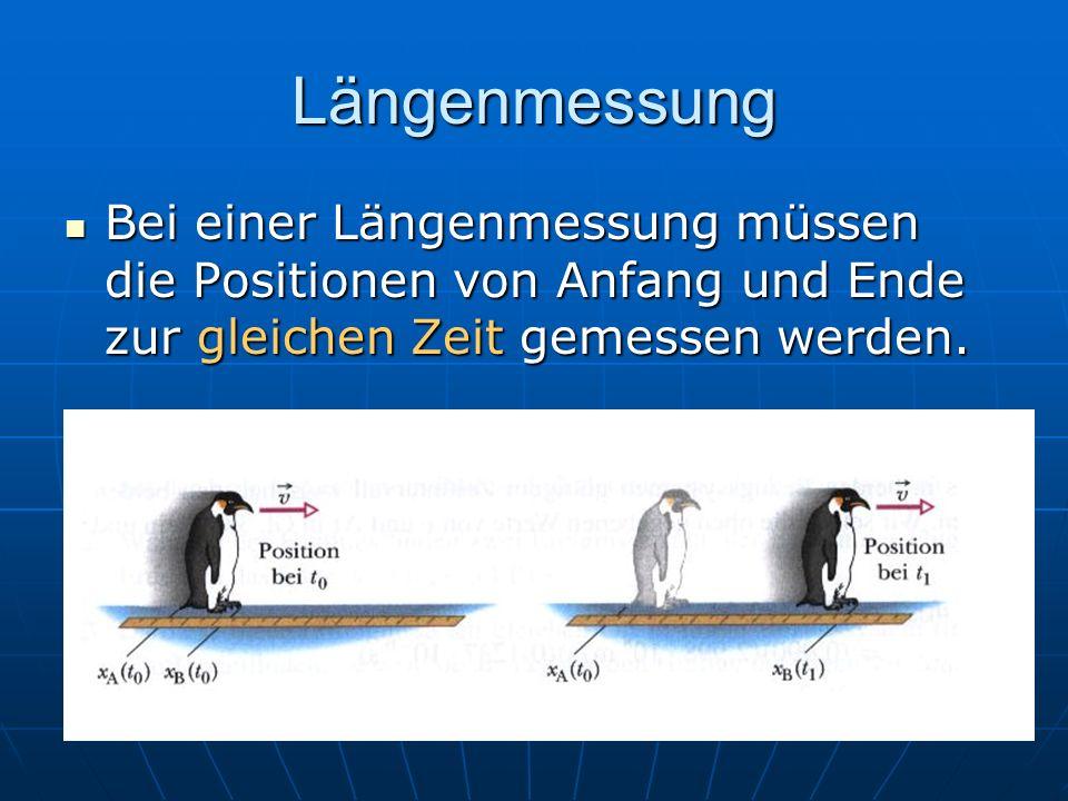 Längenmessung Bei einer Längenmessung müssen die Positionen von Anfang und Ende zur gleichen Zeit gemessen werden. Bei einer Längenmessung müssen die