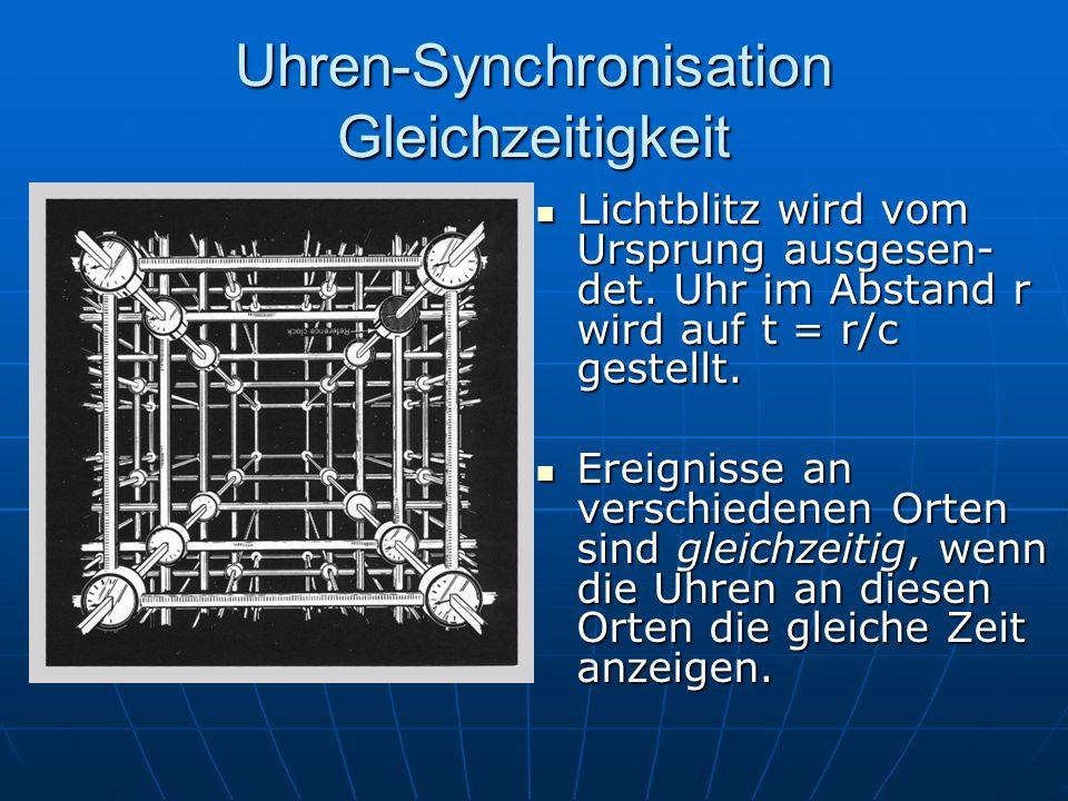 Uhren-Synchronisation Gleichzeitigkeit Lichtblitz wird vom Ursprung ausgesen- det. Uhr im Abstand r wird auf t = r/c gestellt. Lichtblitz wird vom Urs