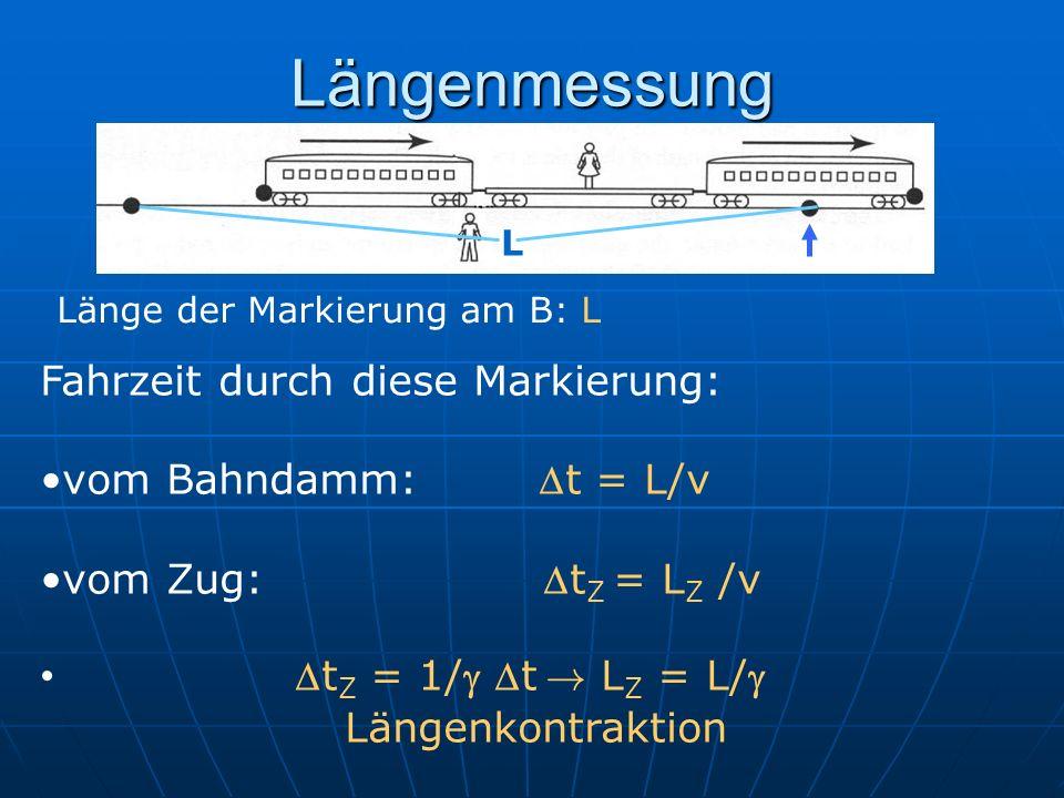 Längenmessung Länge der Markierung am B: L Fahrzeit durch diese Markierung: vom Bahndamm: t = L/v vom Zug: t Z = L Z /v t Z = 1/ t ! L Z = L/ Längenko