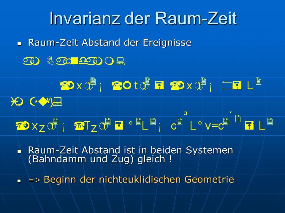 Invarianz der Raum-Zeit Raum-Zeit Abstand der Ereignisse Raum-Zeit Abstand der Ereignisse Raum-Zeit Abstand ist in beiden Systemen (Bahndamm und Zug)