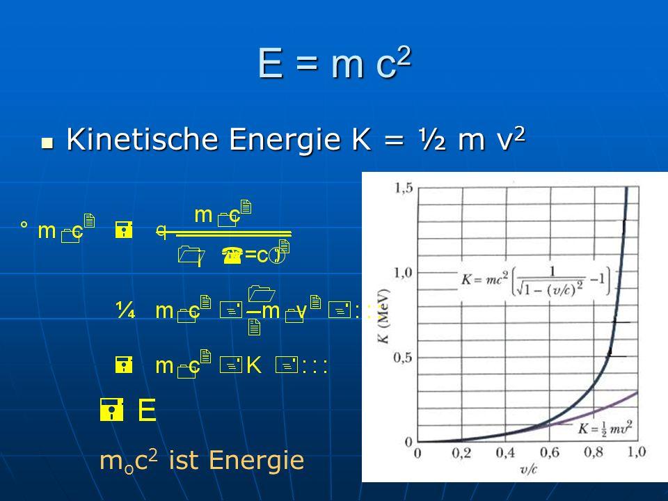 E = m c 2 Kinetische Energie K = ½ m v 2 Kinetische Energie K = ½ m v 2 m o c 2 ist Energie