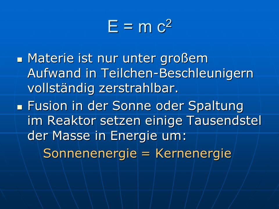 E = m c 2 Materie ist nur unter großem Aufwand in Teilchen-Beschleunigern vollständig zerstrahlbar. Materie ist nur unter großem Aufwand in Teilchen-B