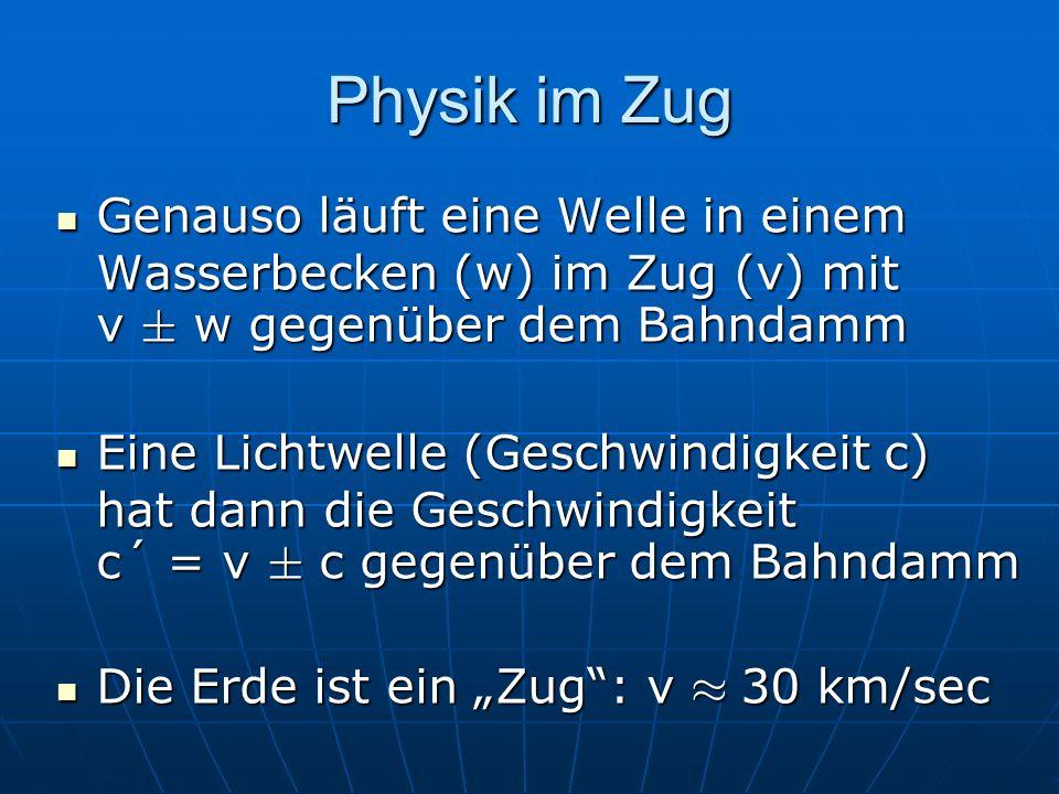 Physik im Zug Genauso läuft eine Welle in einem Wasserbecken (w) im Zug (v) mit v § w gegenüber dem Bahndamm Genauso läuft eine Welle in einem Wasserb