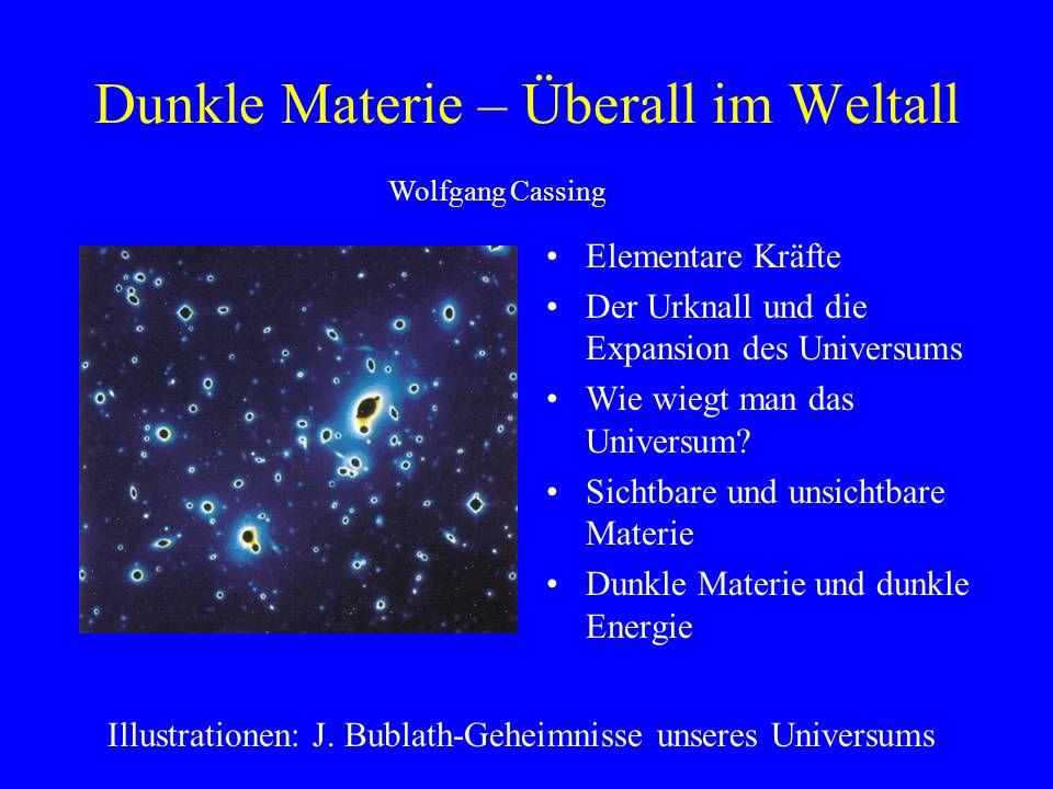 Dunkle Materie – Überall im Weltall Elementare Kräfte Der Urknall und die Expansion des Universums Wie wiegt man das Universum? Sichtbare und unsichtb