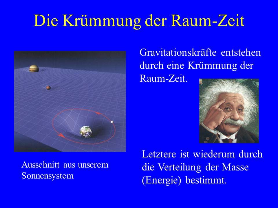 Die Krümmung der Raum-Zeit Gravitationskräfte entstehen durch eine Krümmung der Raum-Zeit. Letztere ist wiederum durch die Verteilung der Masse (Energ