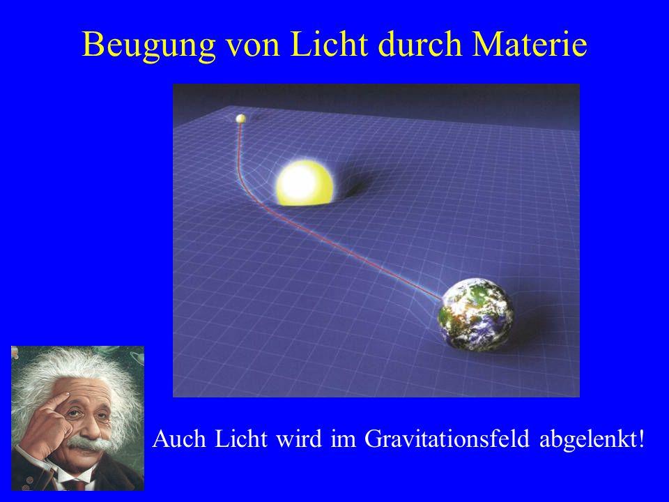 Beugung von Licht durch Materie Auch Licht wird im Gravitationsfeld abgelenkt!