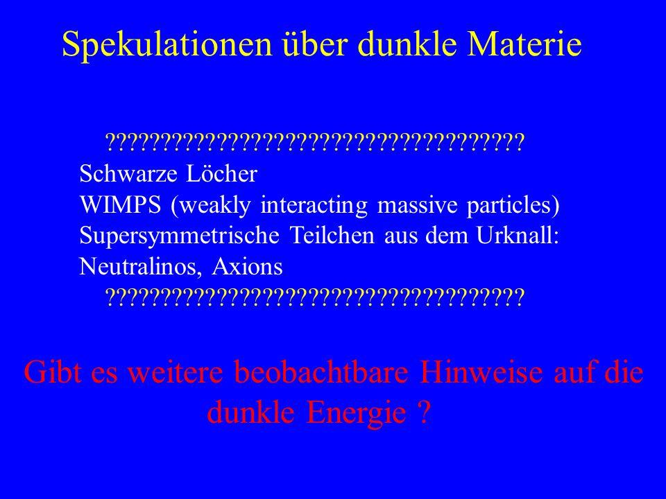 Spekulationen über dunkle Materie ????????????????????????????????????? Schwarze Löcher WIMPS (weakly interacting massive particles) Supersymmetrische