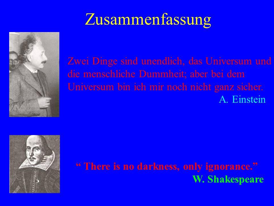 Conclusions. There is no darkness, only ignorance. W. Shakespeare Zusammenfassung Zwei Dinge sind unendlich, das Universum und die menschliche Dummhei
