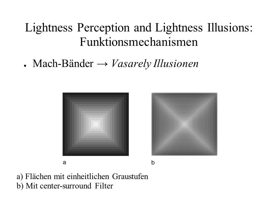 Lightness Perception and Lightness Illusions: Funktionsmechanismen Mach-Bänder Vasarely Illusionen a) Flächen mit einheitlichen Graustufen b) Mit cent