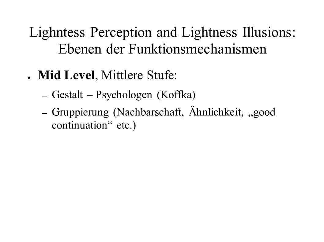 Lighntess Perception and Lightness Illusions: Ebenen der Funktionsmechanismen Mid Level, Mittlere Stufe: – Gestalt – Psychologen (Koffka) – Gruppierun