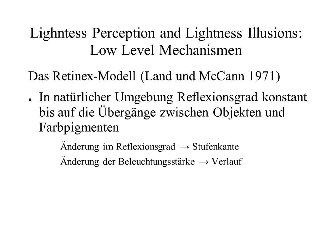 Lighntess Perception and Lightness Illusions: Low Level Mechanismen Das Retinex-Modell (Land und McCann 1971) In natürlicher Umgebung Reflexionsgrad k