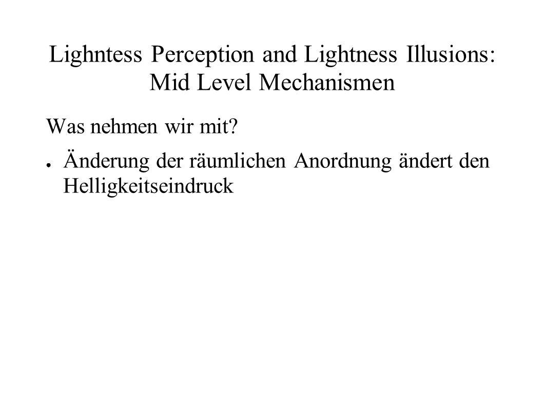Lighntess Perception and Lightness Illusions: Mid Level Mechanismen Was nehmen wir mit? Änderung der räumlichen Anordnung ändert den Helligkeitseindru