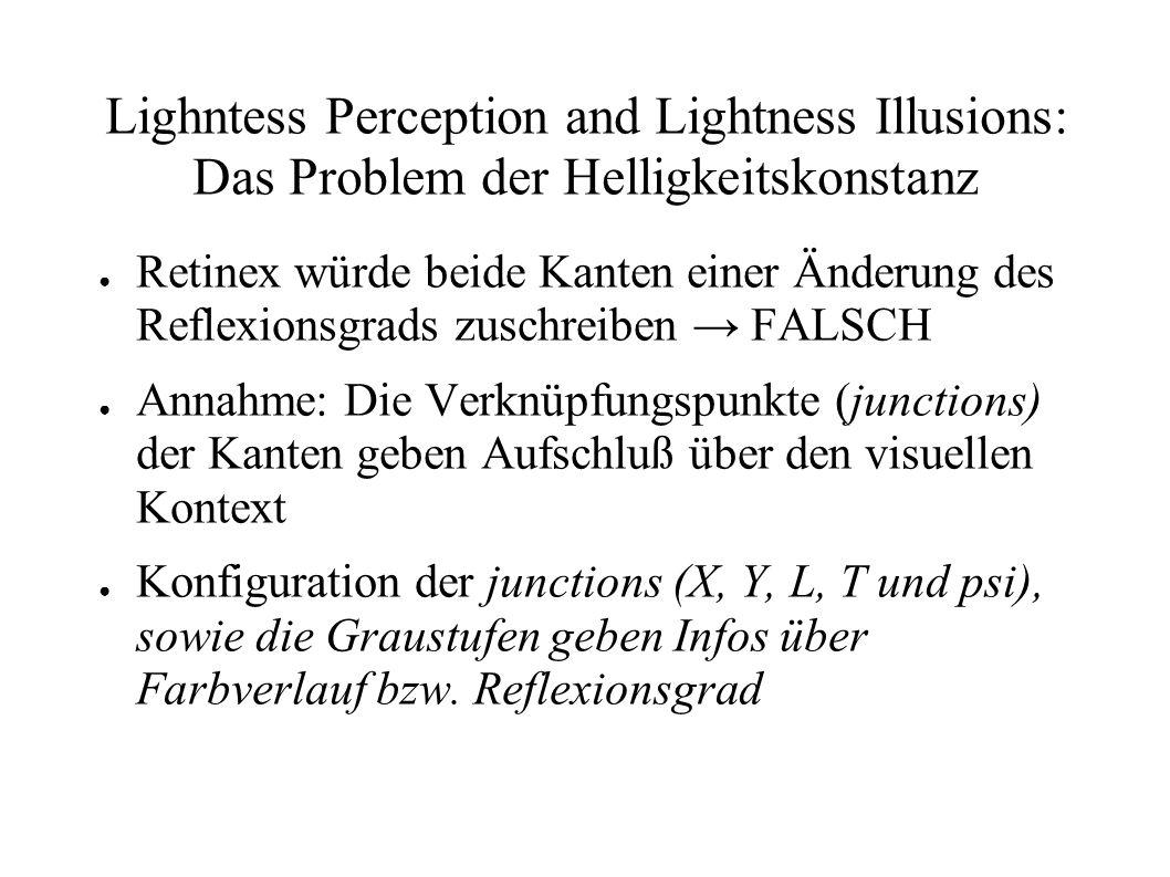 Lighntess Perception and Lightness Illusions: Das Problem der Helligkeitskonstanz Retinex würde beide Kanten einer Änderung des Reflexionsgrads zuschr