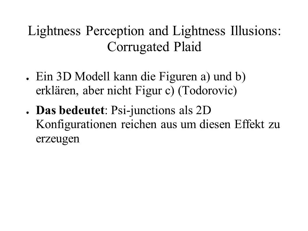 Lightness Perception and Lightness Illusions: Corrugated Plaid Ein 3D Modell kann die Figuren a) und b) erklären, aber nicht Figur c) (Todorovic) Das