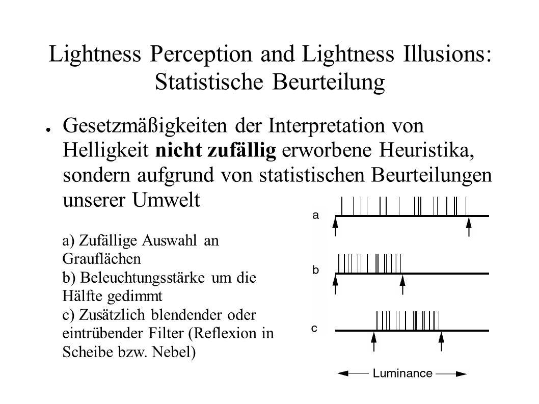 Lightness Perception and Lightness Illusions: Statistische Beurteilung Gesetzmäßigkeiten der Interpretation von Helligkeit nicht zufällig erworbene He
