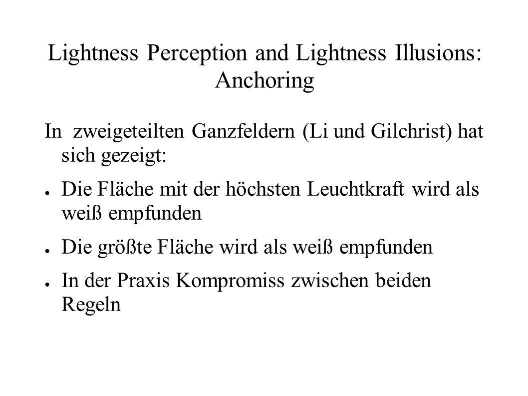 Lightness Perception and Lightness Illusions: Anchoring In zweigeteilten Ganzfeldern (Li und Gilchrist) hat sich gezeigt: Die Fläche mit der höchsten
