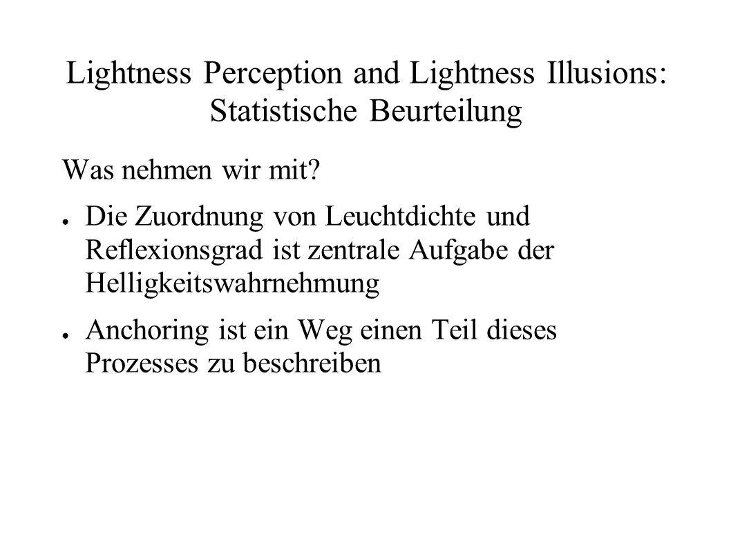 Lightness Perception and Lightness Illusions: Statistische Beurteilung Was nehmen wir mit? Die Zuordnung von Leuchtdichte und Reflexionsgrad ist zentr