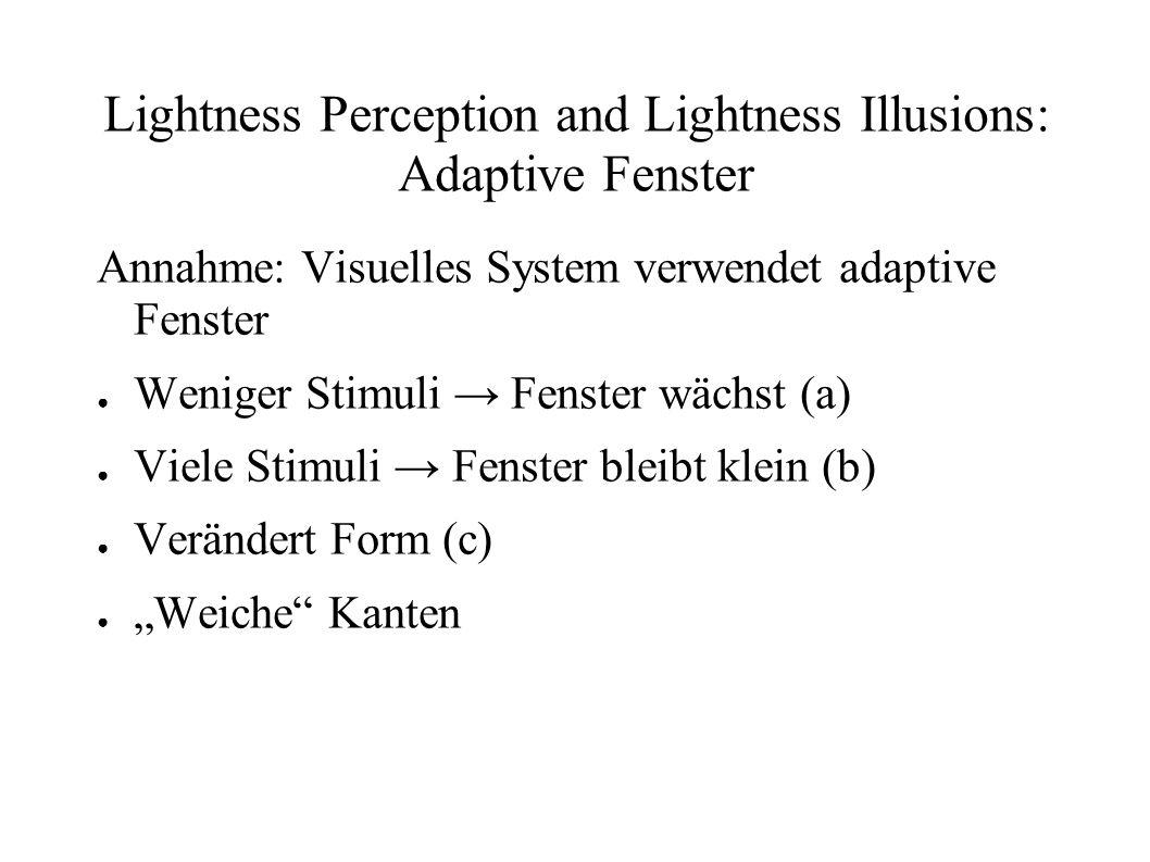 Lightness Perception and Lightness Illusions: Adaptive Fenster Annahme: Visuelles System verwendet adaptive Fenster Weniger Stimuli Fenster wächst (a)