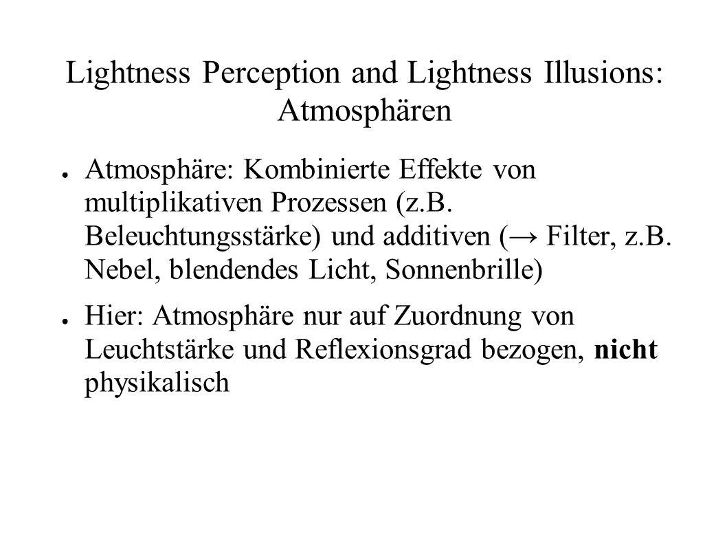 Lightness Perception and Lightness Illusions: Atmosphären Atmosphäre: Kombinierte Effekte von multiplikativen Prozessen (z.B. Beleuchtungsstärke) und