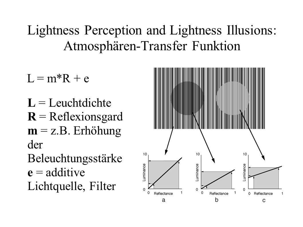 Lightness Perception and Lightness Illusions: Atmosphären-Transfer Funktion L = m*R + e L = Leuchtdichte R = Reflexionsgard m = z.B. Erhöhung der Bele