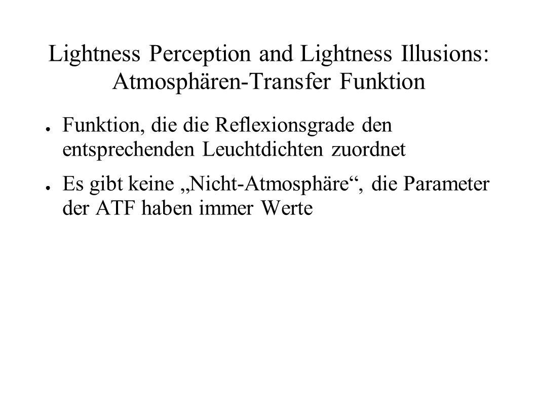 Lightness Perception and Lightness Illusions: Atmosphären-Transfer Funktion Funktion, die die Reflexionsgrade den entsprechenden Leuchtdichten zuordne