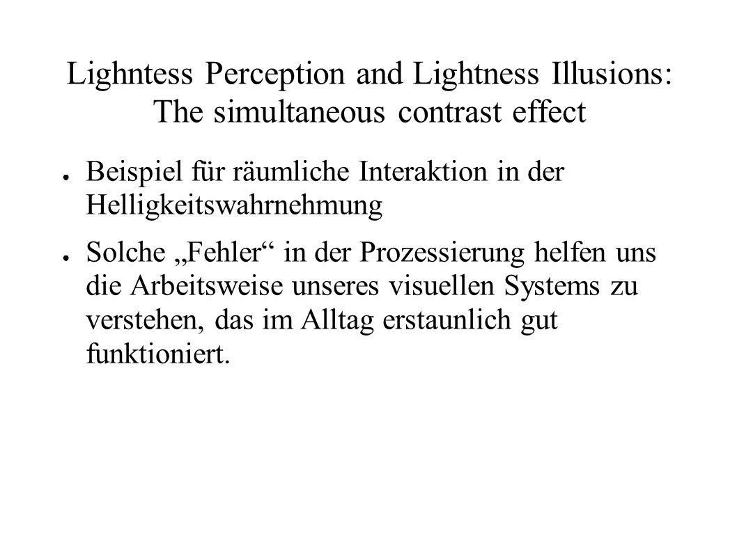 Lighntess Perception and Lightness Illusions: Terminologie 3 physikalisch messbare Einheiten Luminance, Leuchtdichte, Leuchtkraft, Menge des sichtbaren Lichts das von einer Oberfläche ins Auge einfällt Illuminance, Beleuchtungsstärke, Menge Licht das auf eine Oberfläche von einer Lichtquelle ausgehend einfällt Reflectance, Reflexionsgrad/-quotient, Anteil des von einer Oberfläche reflektierten Lichts