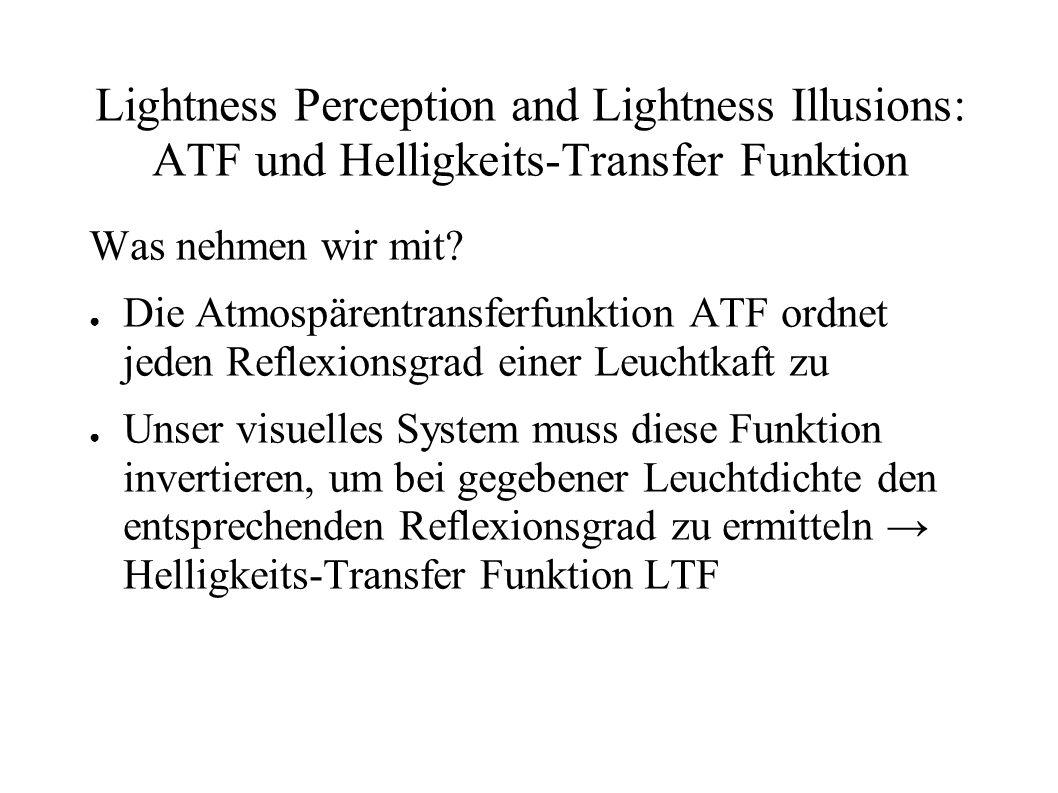 Lightness Perception and Lightness Illusions: ATF und Helligkeits-Transfer Funktion Was nehmen wir mit? Die Atmospärentransferfunktion ATF ordnet jede