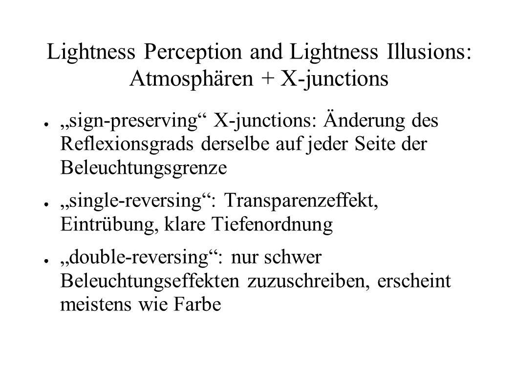 Lightness Perception and Lightness Illusions: Atmosphären + X-junctions sign-preserving X-junctions: Änderung des Reflexionsgrads derselbe auf jeder S