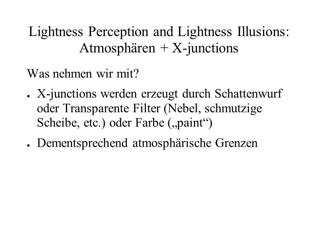 Lightness Perception and Lightness Illusions: Atmosphären + X-junctions Was nehmen wir mit? X-junctions werden erzeugt durch Schattenwurf oder Transpa