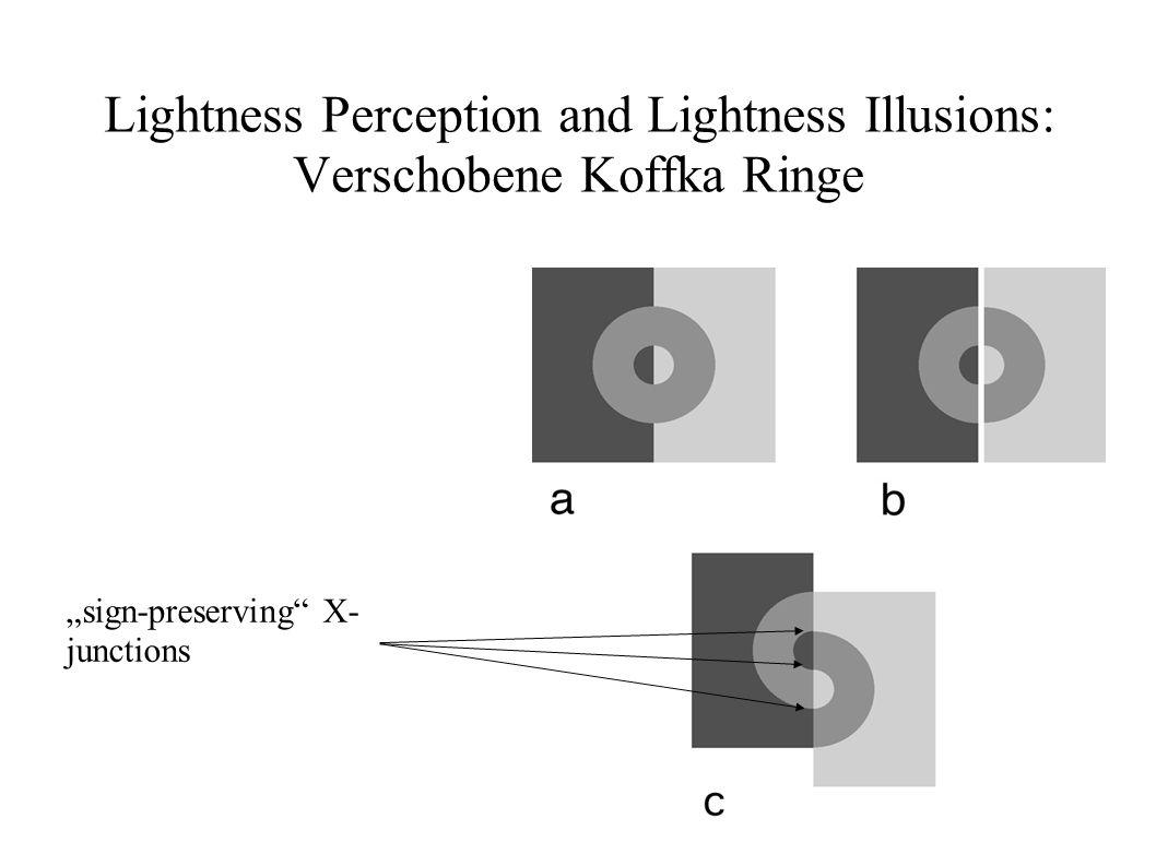 Lightness Perception and Lightness Illusions: Verschobene Koffka Ringe sign-preserving X- junctions