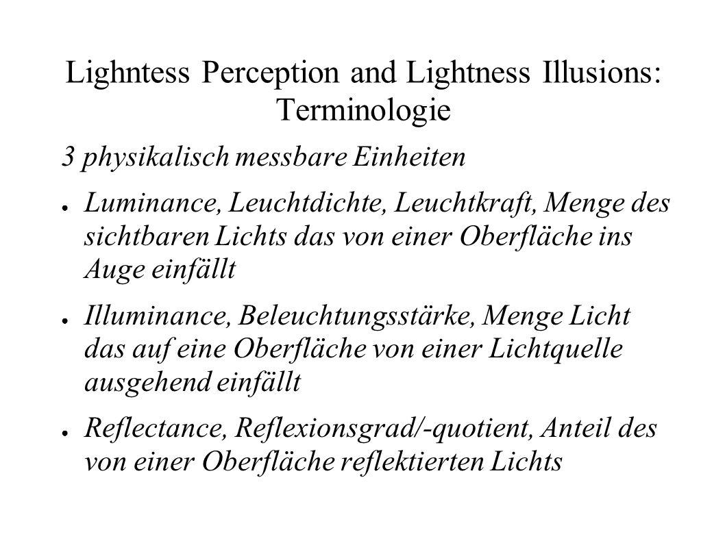 Lighntess Perception and Lightness Illusions: Low Level Mechanismen Das Retinex-Modell (Land und McCann 1971) In natürlicher Umgebung Reflexionsgrad konstant bis auf die Übergänge zwischen Objekten und Farbpigmenten Änderung im Reflexionsgrad Stufenkante Änderung der Beleuchtungsstärke Verlauf