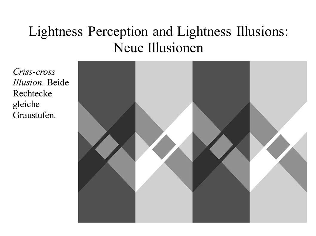 Lightness Perception and Lightness Illusions: Neue Illusionen Criss-cross Illusion. Beide Rechtecke gleiche Graustufen.