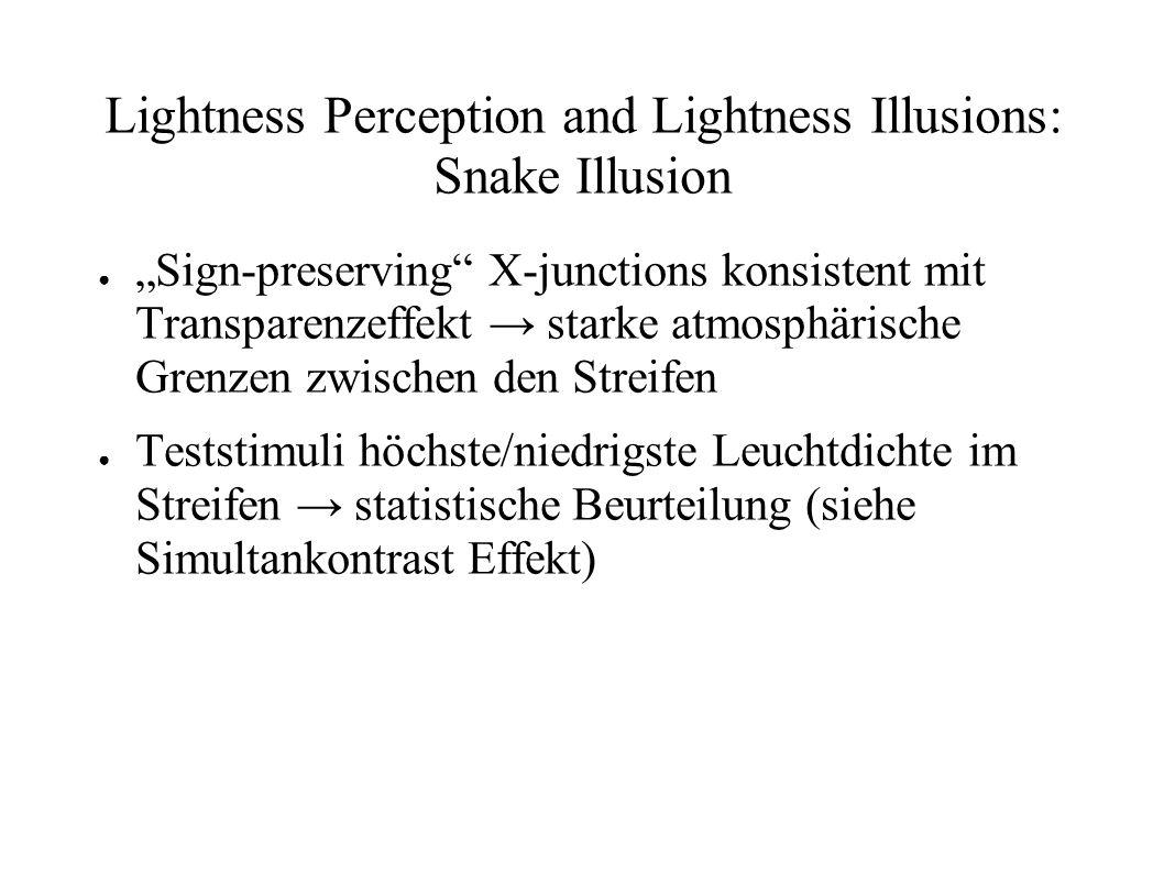 Lightness Perception and Lightness Illusions: Snake Illusion Sign-preserving X-junctions konsistent mit Transparenzeffekt starke atmosphärische Grenze