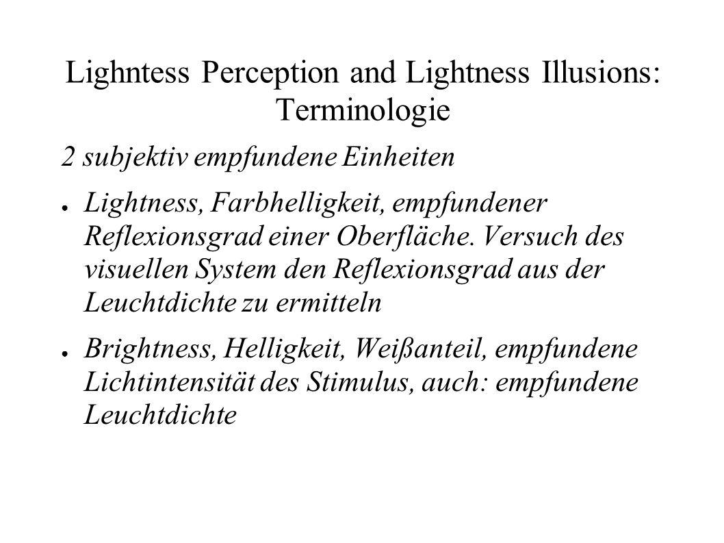 Lighntess Perception and Lightness Illusions: Terminologie CheckerBox P und q selber Reflexionsgrad (reflectance), aber unterschiedliche Leuchtdichte (luminance) Q und r verschiedener Reflexionsgrad und verschiedene Leuchtdichte, aber selbe Beleuchtungsstärke (illuminance)