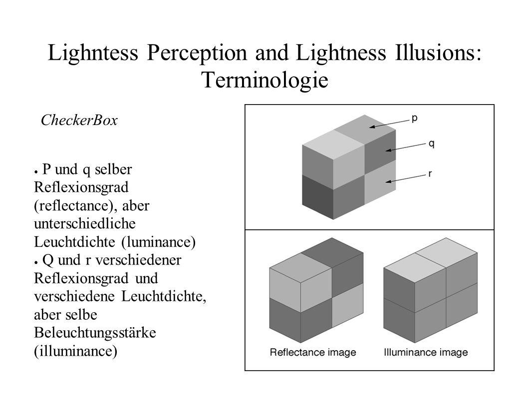 Lighntess Perception and Lightness Illusions: Terminologie CheckerBox P und r haben zufällig selbe Leuchtdichte, weil Unterschied im Reflexionsgrad durch Unterschied der Beleuchtungsstärke ausgeglichen wird