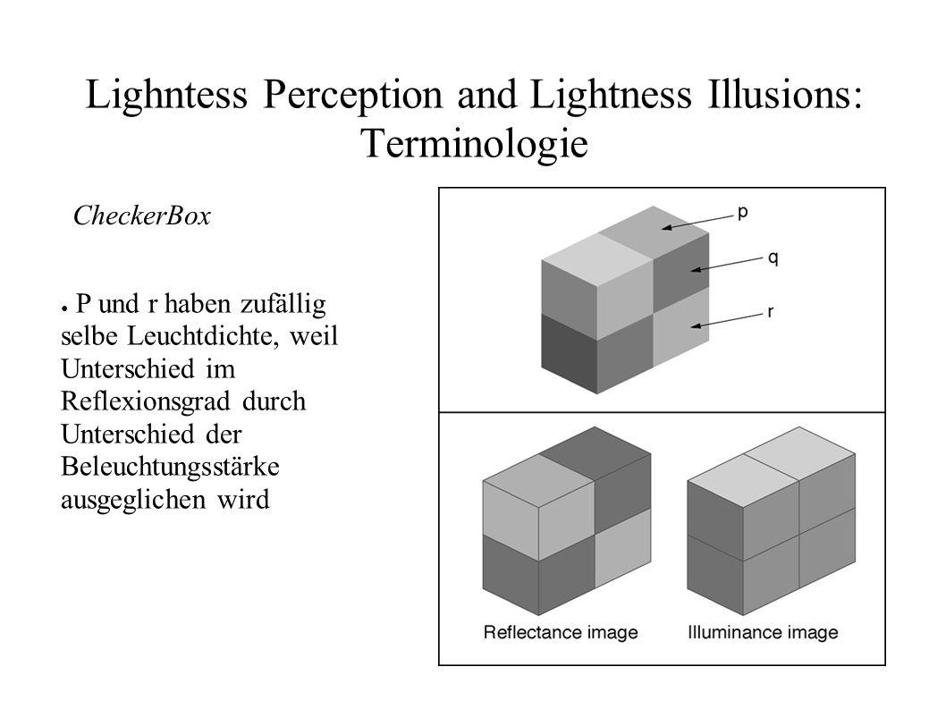 Lighntess Perception and Lightness Illusions: Grenzen der Low Level Mechanismen Kann nicht erklärt werden durch Low Level Mechanismen Hochberg und Beck (1954), Gilchrist (1977): – 3D Informationen können Helligkeitseindruck beträchtlich ändern, ohne Änderung des retinalen Eindrucks