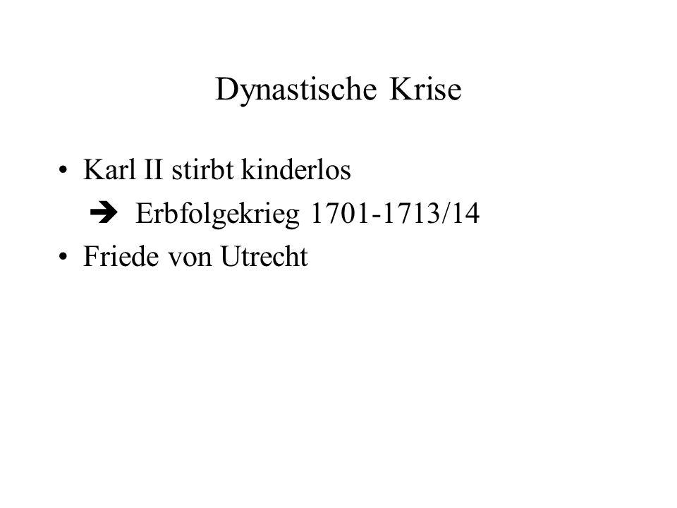Dynastische Krise Karl II stirbt kinderlos Erbfolgekrieg 1701-1713/14 Friede von Utrecht