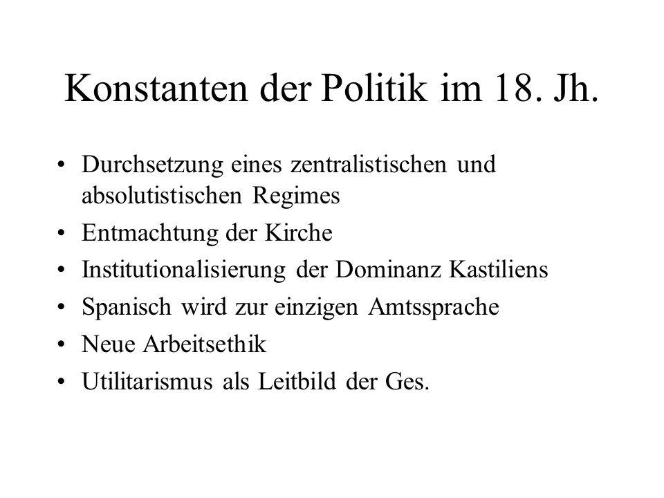 Konstanten der Politik im 18. Jh. Durchsetzung eines zentralistischen und absolutistischen Regimes Entmachtung der Kirche Institutionalisierung der Do