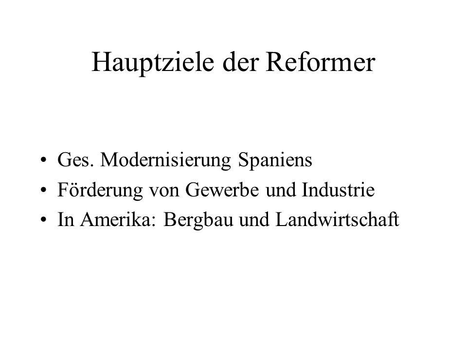 Hauptziele der Reformer Ges. Modernisierung Spaniens Förderung von Gewerbe und Industrie In Amerika: Bergbau und Landwirtschaft